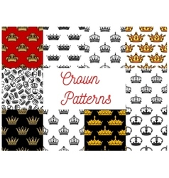 Royal crowns seamless patterns vector image