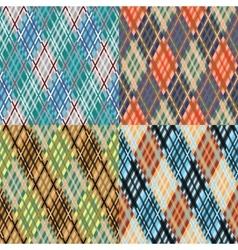 Seamless tartan pattern set diagonal cool vector
