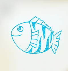 Sketch line drawing fish vector