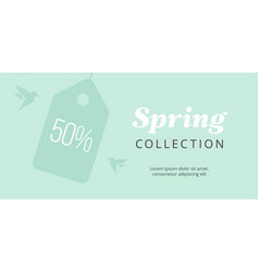 Spring big sale banner with tag and birds elegant vector