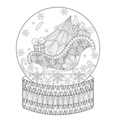 Zentangle snow globe with sledge christmas tree vector