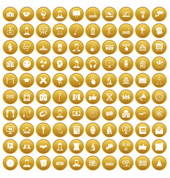 100 conference icons set gold vector