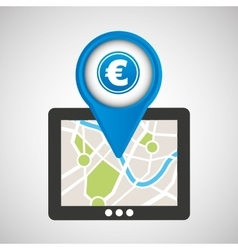 Mobile device europe gps map vector