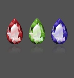Pear shape color stones vector