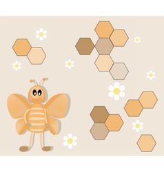 Happy cartoon bee background vector