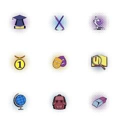 Education icons set pop-art style vector image