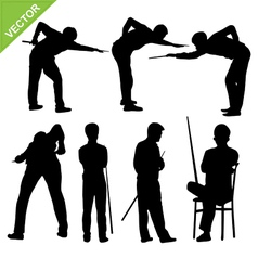 Snooker player silhouettes vector image