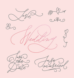 wedding calligraphic letterings set vector image