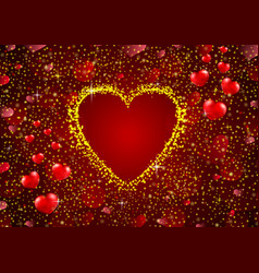Gold glitter a heart concept background vector