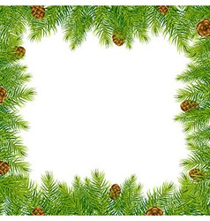 Frame with christmas tree and pine cone vector