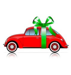Compact red car with ribbon vector