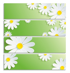 Set of eco banners with 3d flower chamomile vector image