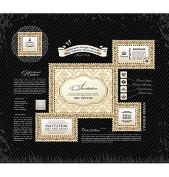 Calligraphic vintage frames and design ornament vector