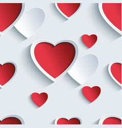 Valentines day seamless pattern with 3d hearts vector