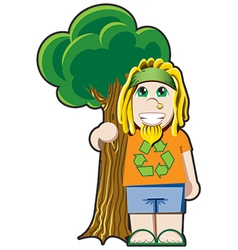 Tree hugger avatar vector