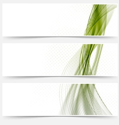 Green satin lines web footers collection vector