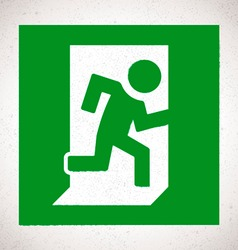 Green emergency exit sign with running human vector