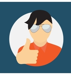 Man in glass with thumbs up hand sign flat icon vector