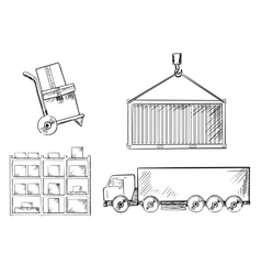 Truck container hand truck and racks vector