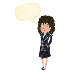 cartoon woman in trench coat with speech bubble vector image