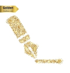 Gold glitter icon of pen isolated on vector