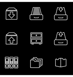 Line archive icon set vector