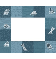 Baby photo frame or card with fishes vector image vector image