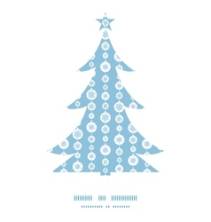 Blue and white snowflakes stripes christmas tree vector