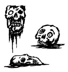 Broken skull set vector