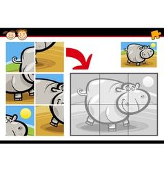 Cartoon hippo jigsaw puzzle game vector