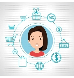 character money buy web woman vector image vector image