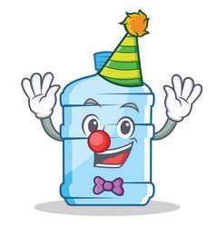 Clown gallon character cartoon style vector