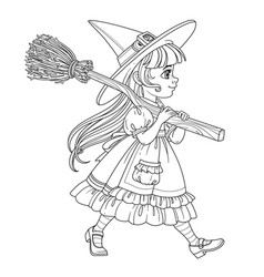 cute girl in witch suit goes forward holding a vector image