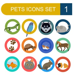 Domestic pets and vet healthcare flat icons set vector image vector image