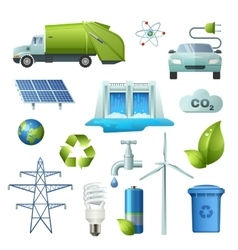 Ecology symbols icon set vector