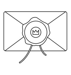 envelope with wax stamp icon outline style vector image vector image