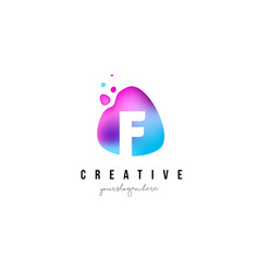 F letter dots logo design with oval shape vector