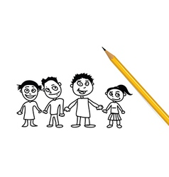 Family doodle vector image vector image