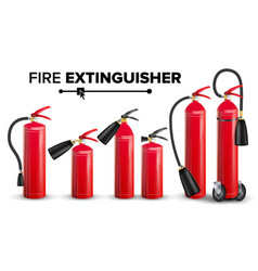 fire extinguisher set different types vector image vector image