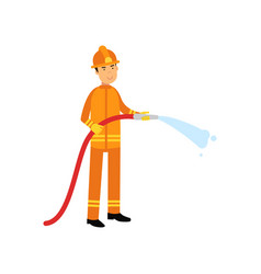 fireman in uniform and protective helmet holding vector image vector image