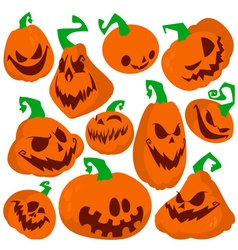 Flat pumpkins icons set vector