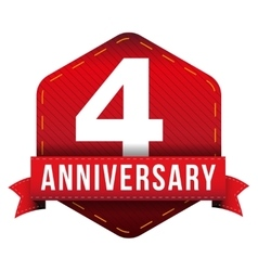 Four year anniversary badge with red ribbon vector