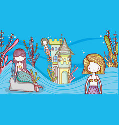 Little mermaids cute cartoons vector