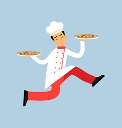 male chef cook character in uniform running with vector image