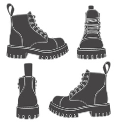 Set of drawings with boots isolated objects vector