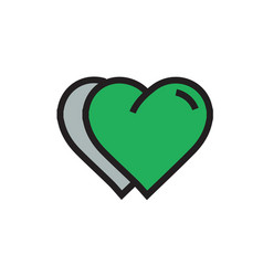 Twins heart icon cartoon green color vector