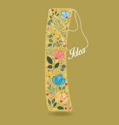 yellow letter i with floral decor and necklace vector image vector image