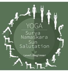 Yoga poses surya namaskara vector