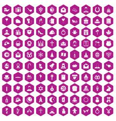100 religious festival icons hexagon violet vector