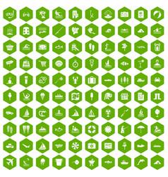 100 water recreation icons hexagon green vector